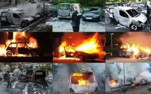 Част от разрушенията след погромите, извършени от негри и араби в Стокхолм през 2013 г.